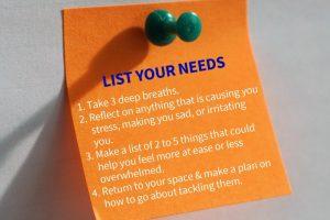 list your needs